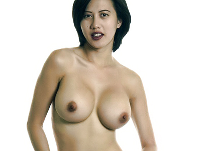 Pretty asian babe with western features teasingly strips off clothes